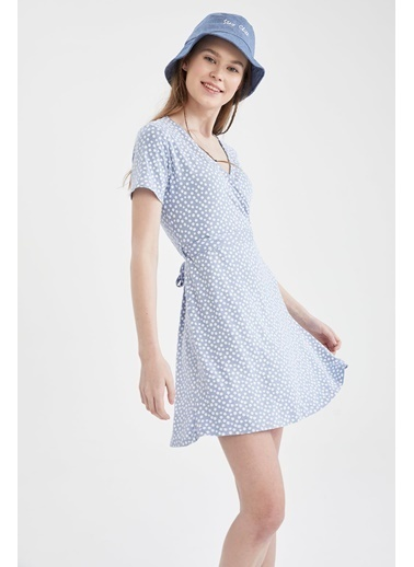 DeFacto V Yaka Bağlama Detaylı Desenli Elbise Mavi